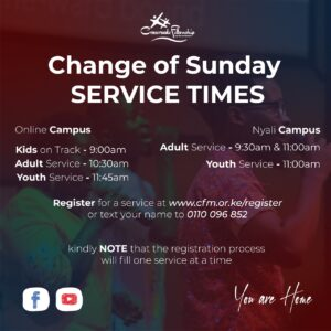 change of service times at Crossroads Fellowship Nyali church in Mombasa Kenya