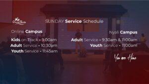 New times of service at Crossroads Fellowship Nyali church in Mombasa Kenya